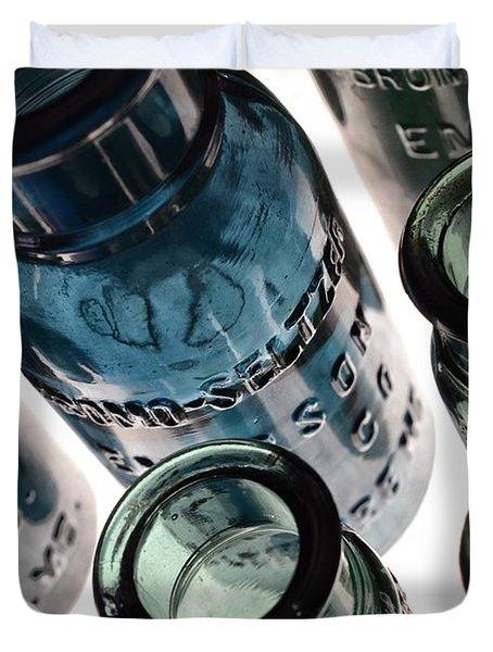 Bromo Seltzer Vintage Glass Bottles - Rare Green And Blue Duvet Cover