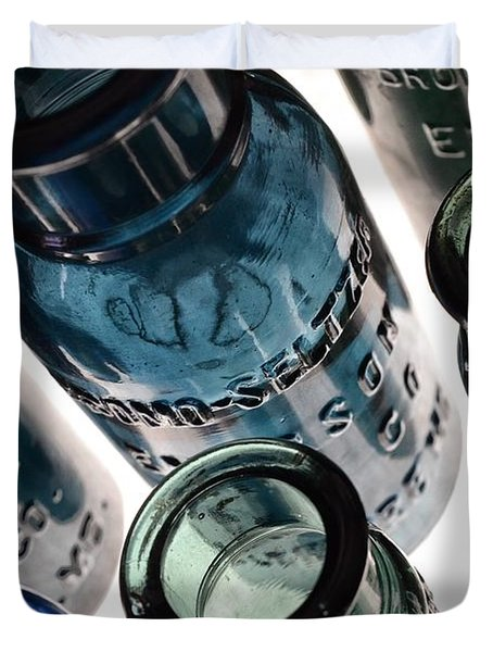 Bromo Seltzer Vintage Glass Bottles - Rare Green And Blue Duvet Cover