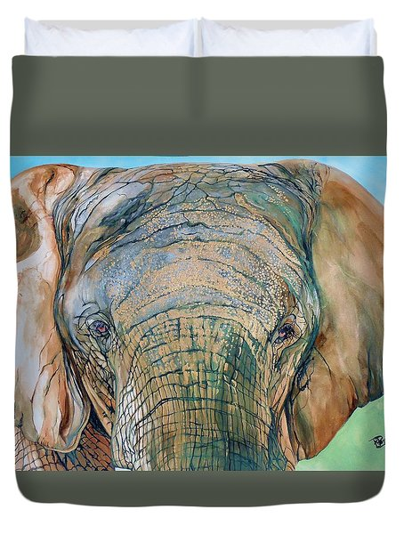 Bronze Elephant Duvet Cover by Raymond Perez