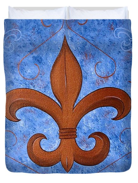 Bronze Fleur De Lis Duvet Cover