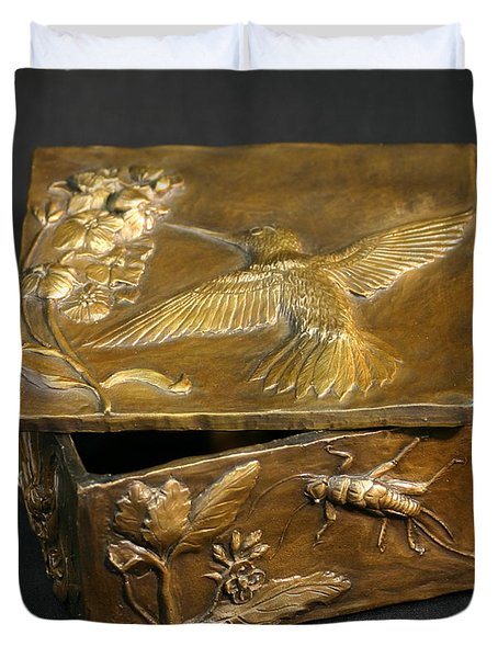 Bronze Hummingbird Box Duvet Cover by Dawn Senior-Trask