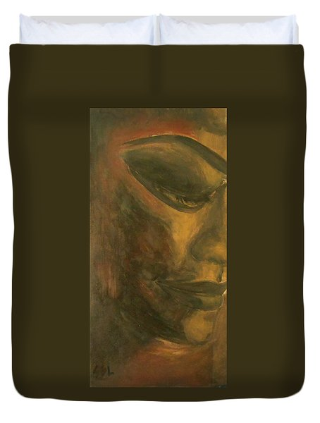 Duvet Cover featuring the painting Bronze by Jane See