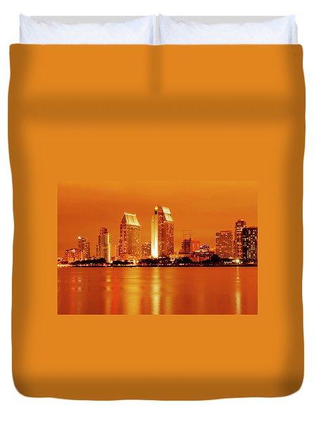 Bronze San Diego Skyline Duvet Cover
