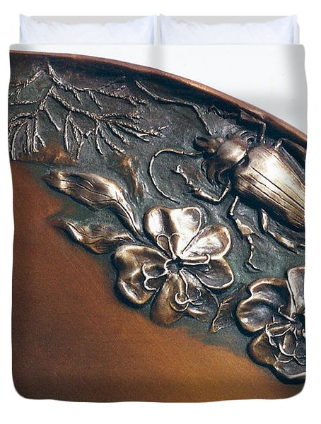 Bronze Tray Detail With Beetle Duvet Cover by Dawn Senior-Trask