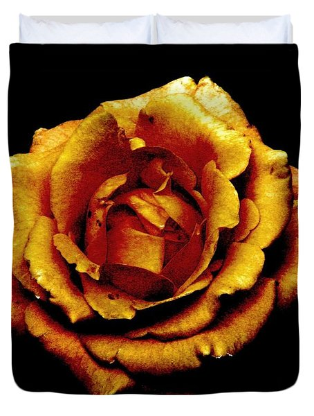 Bronzed Rose Duvet Cover by Angela Davies
