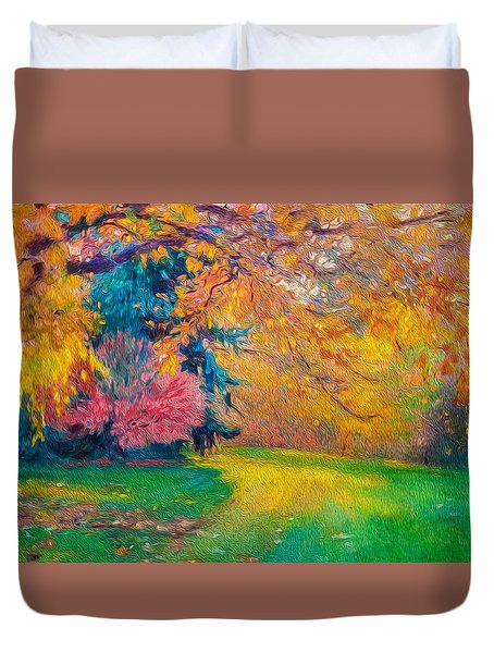 Brook Forest Garden At Fall Duvet Cover