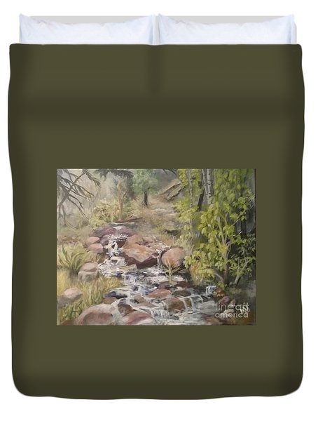 Duvet Cover featuring the painting Brook by Saundra Johnson