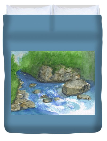 Duvet Cover featuring the painting Brook And Stream  by Frank Bright