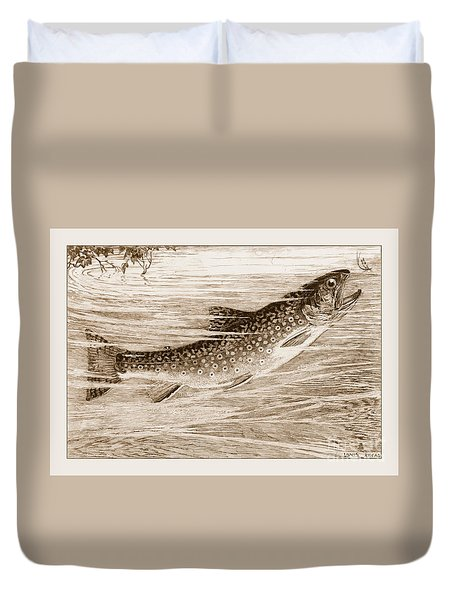 Brook Trout Going After A Fly Duvet Cover by John Stephens