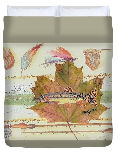 Brook Trout On Fly #2 Duvet Cover by Ralph Root