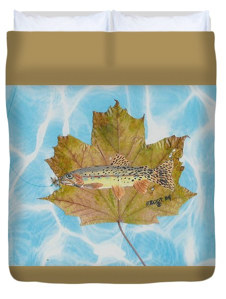 Brook Trout On Fly Duvet Cover by Ralph Root
