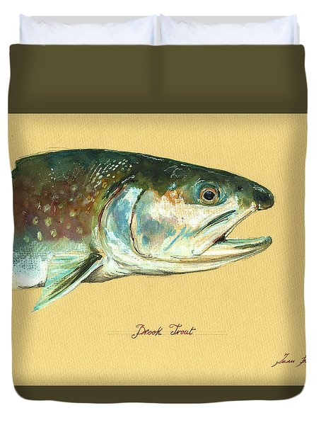 Brook Trout Watercolor Duvet Cover