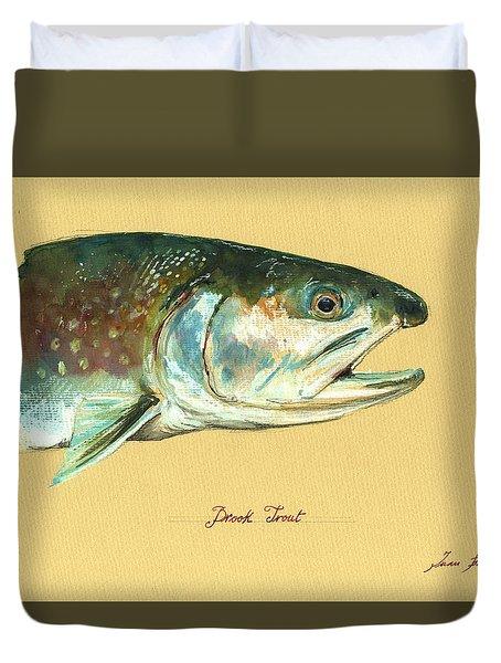 Brook Trout Watercolor Duvet Cover by Juan  Bosco