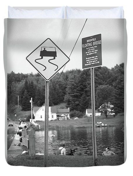 Duvet Cover featuring the photograph Brookfield, Vt - Floating Bridge 2 Bw by Frank Romeo