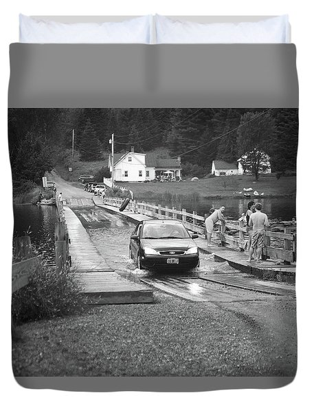Duvet Cover featuring the photograph Brookfield, Vt - Floating Bridge 3 Bw by Frank Romeo