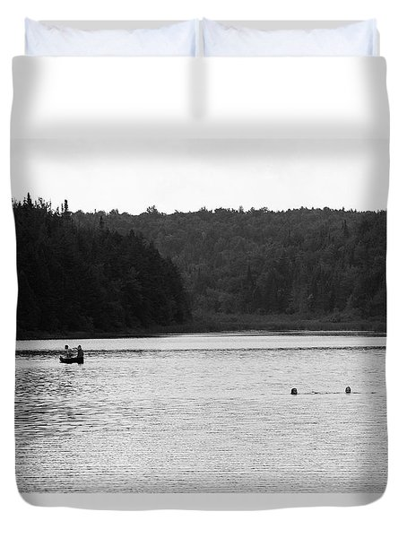 Duvet Cover featuring the photograph Brookfield, Vt - Swimming Hole 2006 Bw by Frank Romeo