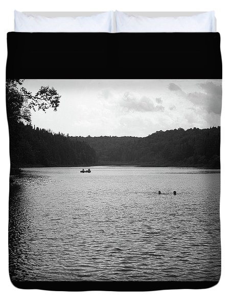 Duvet Cover featuring the photograph Brookfield, Vt - Swimming Hole Bw 2 by Frank Romeo