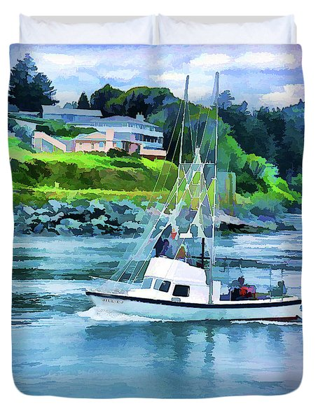 Brookings Boat Oil Painting Duvet Cover by Wendy McKennon