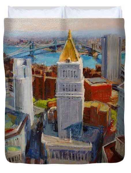 Brooklyn And East River Bridges From Foley Square Duvet Cover