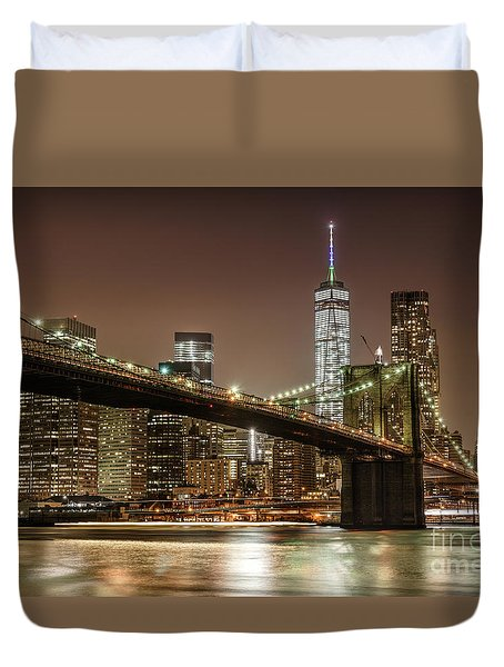 Brooklyn Bridge At Night Duvet Cover