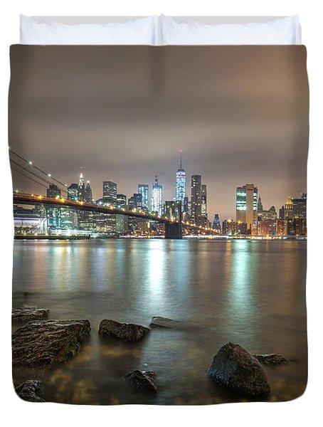 Duvet Cover featuring the photograph Brooklyn Bridge At Sunrise  by Emmanuel Panagiotakis