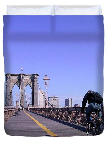 Brooklyn Bridge Bicyclist Duvet Cover