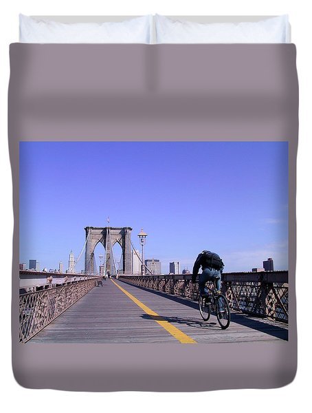 Brooklyn Bridge Bicyclist Duvet Cover