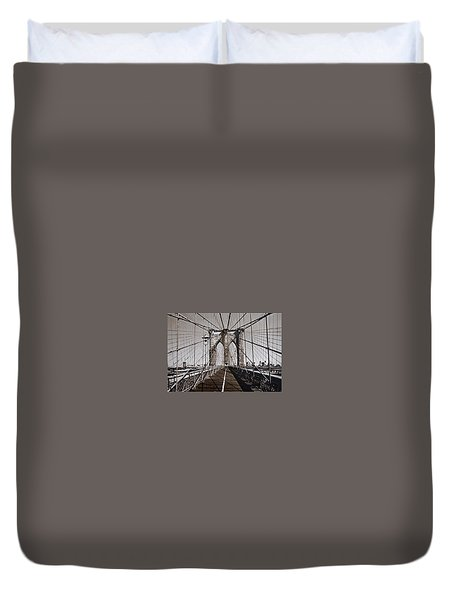 Brooklyn Bridge By Art Farrar Photographs, Ny 1930 Duvet Cover