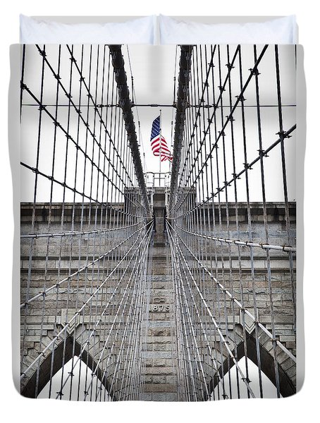 Duvet Cover featuring the photograph Brooklyn Bridge Flag by Peter Simmons