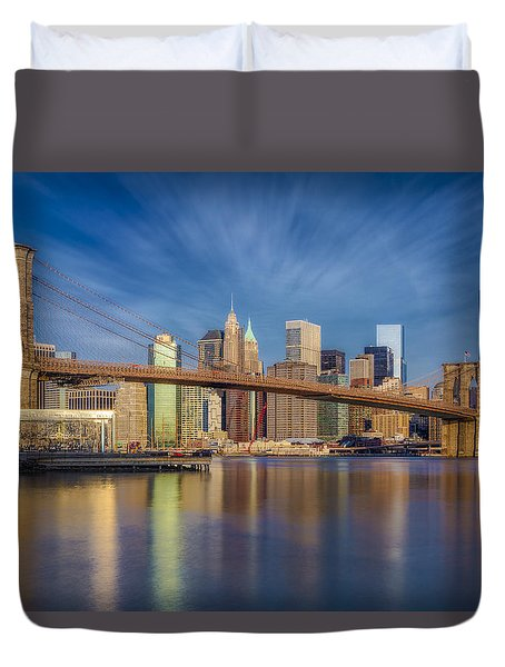 Duvet Cover featuring the photograph Brooklyn Bridge From Dumbo by Susan Candelario