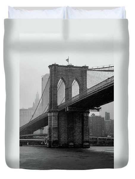 Brooklyn Bridge In A Storm Duvet Cover