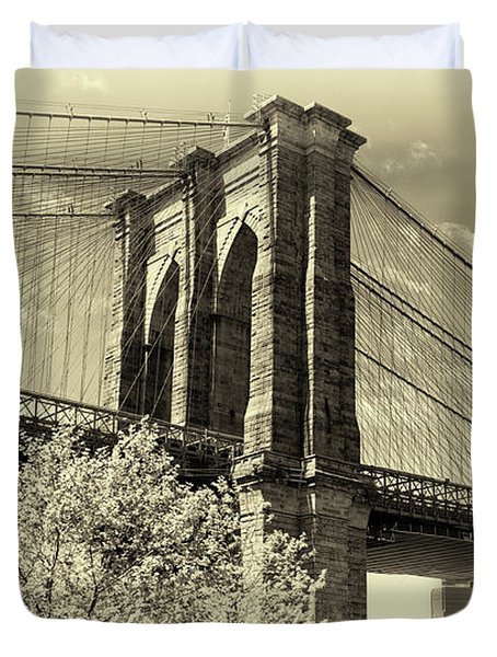 Duvet Cover featuring the photograph Brooklyn Bridge by John Hoey