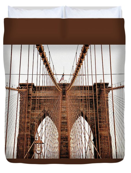 Duvet Cover featuring the photograph Brooklyn Bridge by MGL Meiklejohn Graphics Licensing