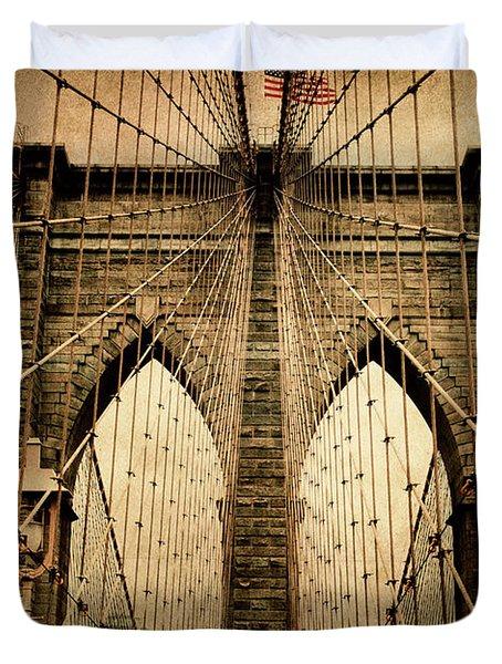 Brooklyn Bridge Nostalgia Duvet Cover