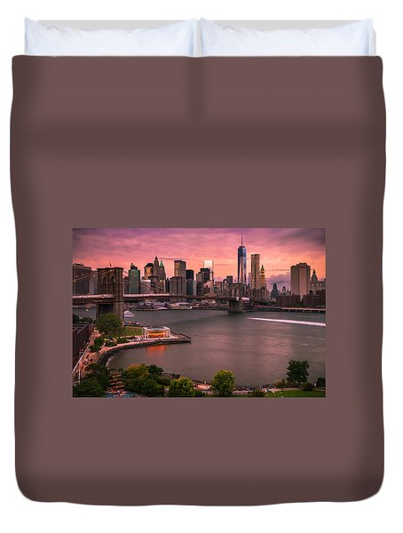 Duvet Cover featuring the photograph Brooklyn Bridge Over New York Skyline At Sunset by Ranjay Mitra