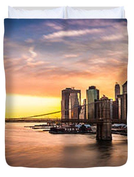 Brooklyn Bridge Panorama Duvet Cover