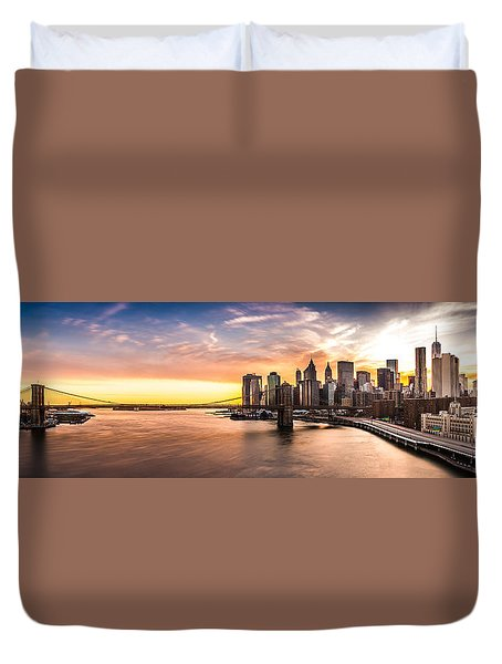 Brooklyn Bridge Panorama Duvet Cover by Mihai Andritoiu