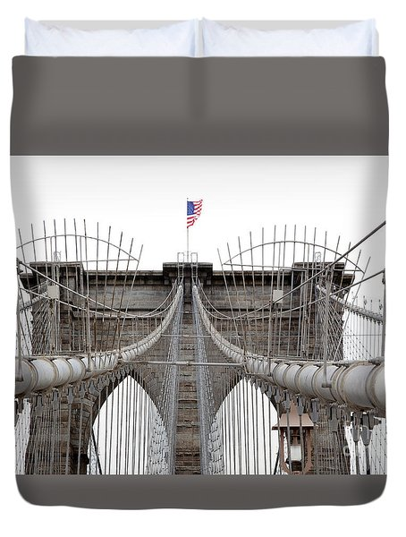 Duvet Cover featuring the photograph Brooklyn Bridge Top by Peter Simmons