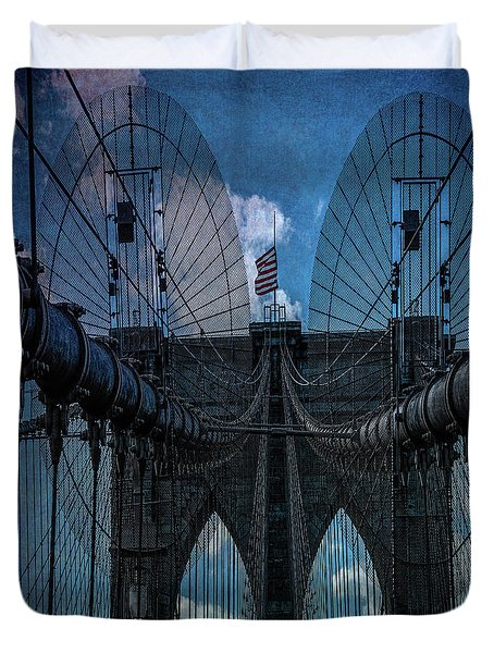 Duvet Cover featuring the photograph Brooklyn Bridge Webs by Chris Lord