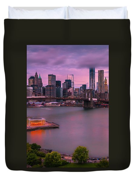 Duvet Cover featuring the photograph Brooklyn Bridge World Trade Center In New York City by Ranjay Mitra