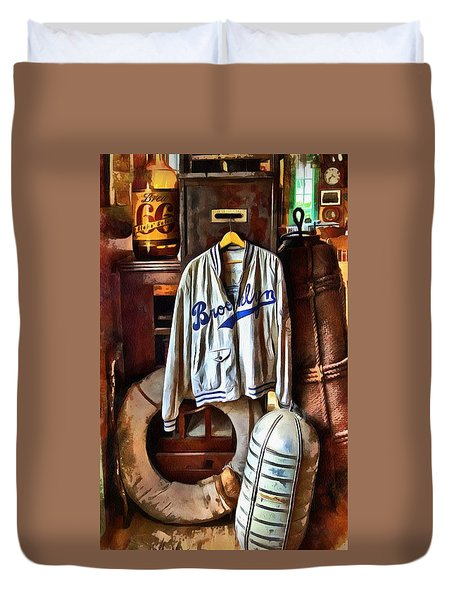Duvet Cover featuring the photograph Brooklyn Dodgers Baseball  by Thom Zehrfeld