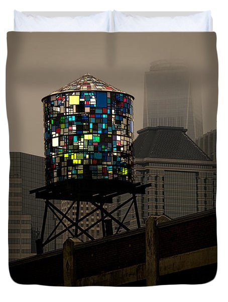 Duvet Cover featuring the photograph Brooklyn Water Tower by Chris Lord