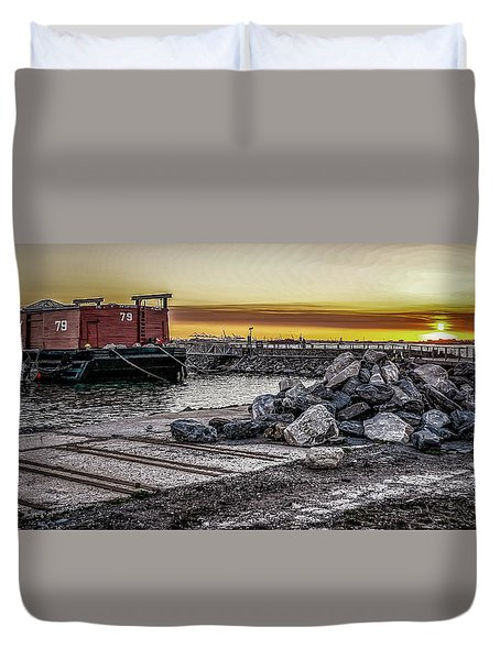 Brooklyn Waterfront Sunset Duvet Cover by Jeffrey Friedkin