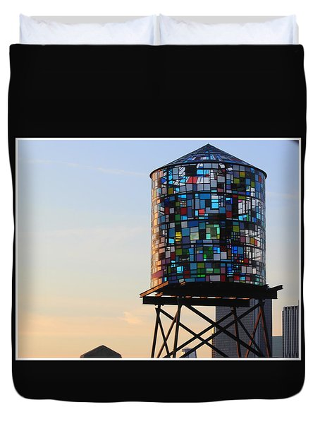 Brooklyn's Glowing Glass Water Tower - Public Art Duvet Cover