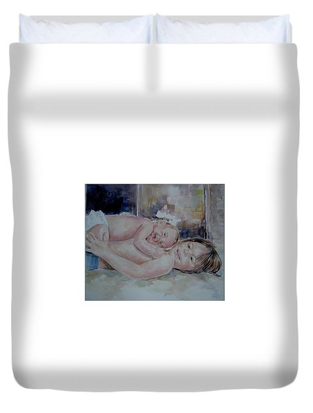 Brother And Sister Play Duvet Cover