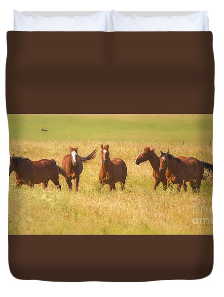 Duvet Cover featuring the photograph Brothers by Rima Biswas