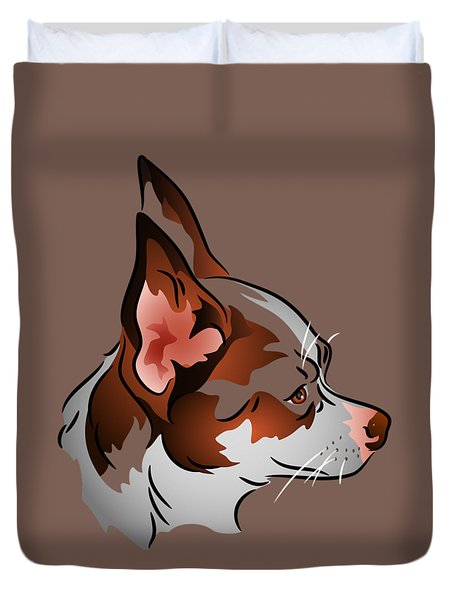 Duvet Cover featuring the digital art Brown And White Chihuahua In Profile by MM Anderson