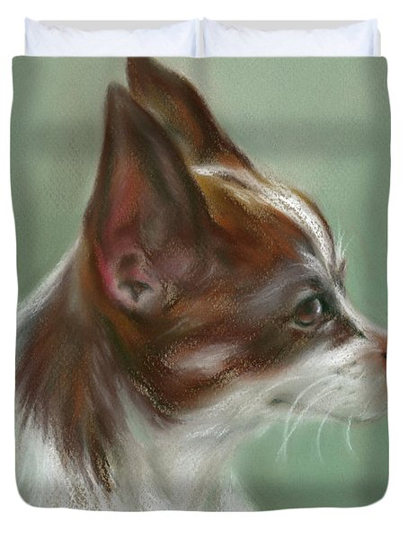 Brown And White Chihuahua Duvet Cover