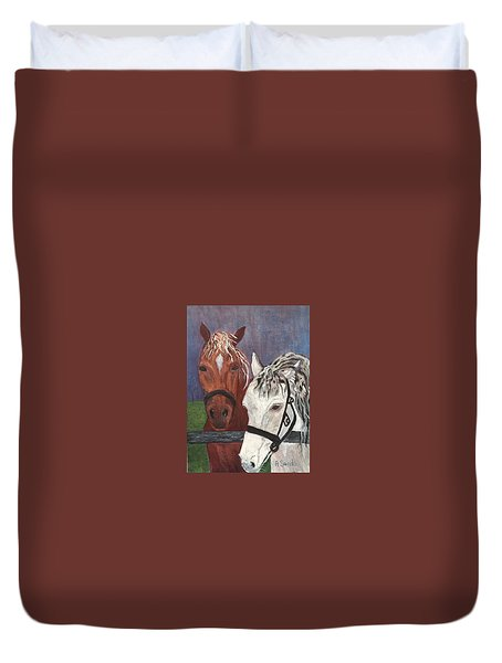 Brown And White Horses Duvet Cover