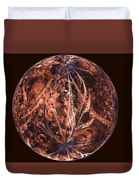 Brown Artificial Planet Duvet Cover